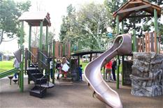 Slides and jungle gym at reservoir park
