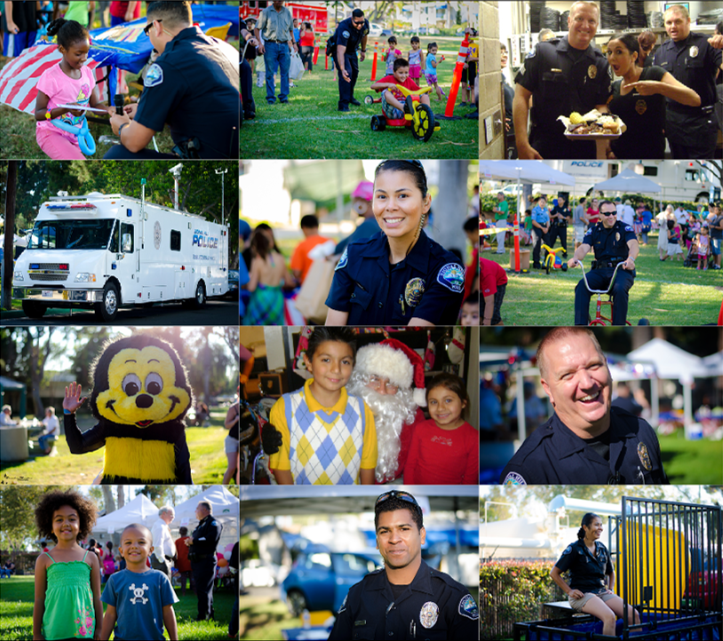 Collage of  twelve images of officers in the community and members of the community