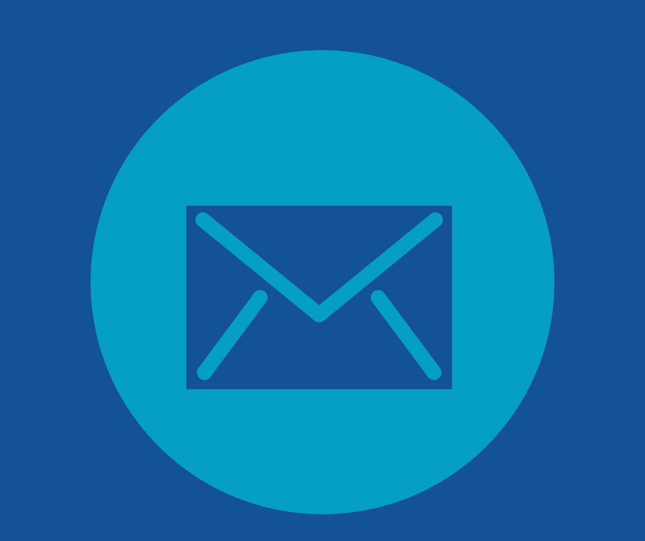 Graphic image of an envelope in a blue circle