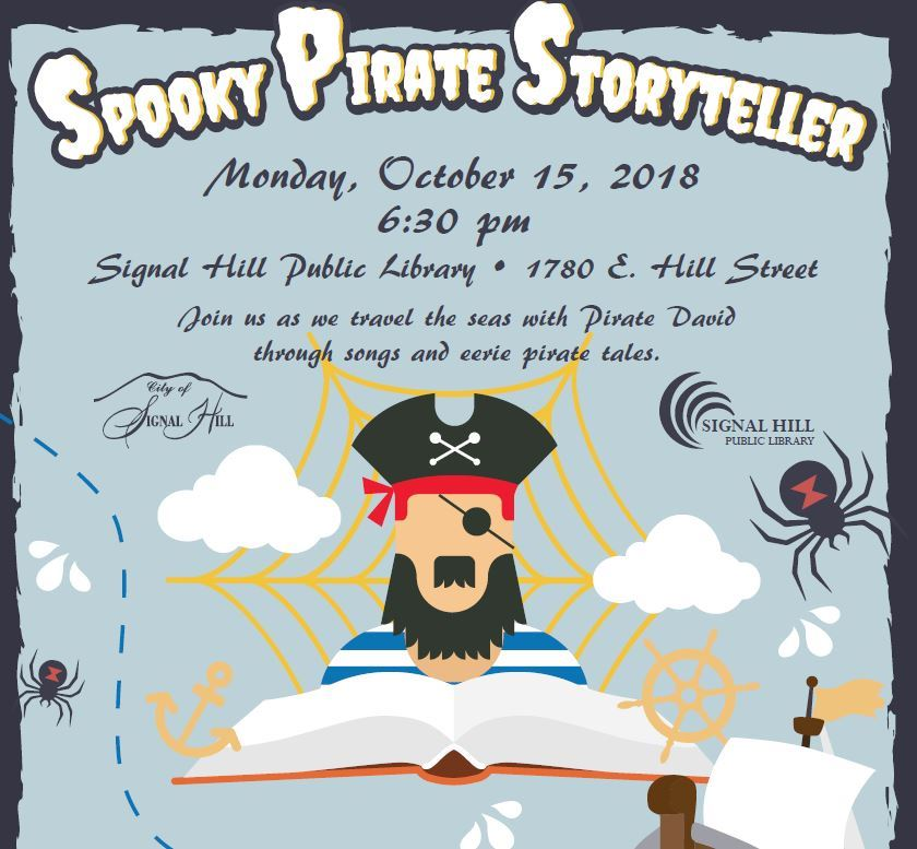 Spooky Pirate Storyteller Flyer with Pirate and Spiderwebs