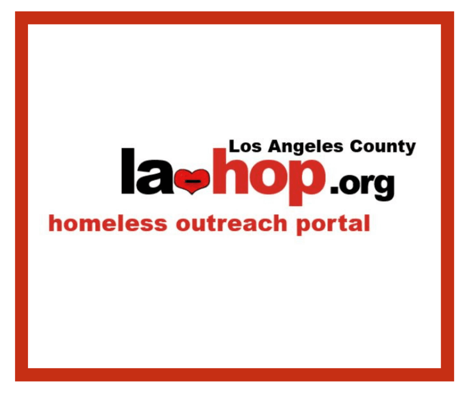 LA-HOP.org Logo in Red Homeless Outreach Portal