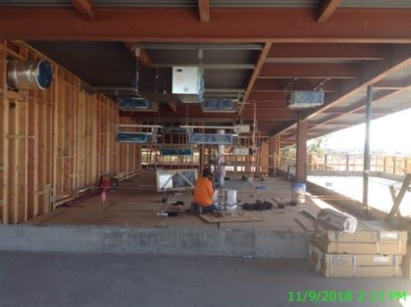 Inside of the new library building under construction