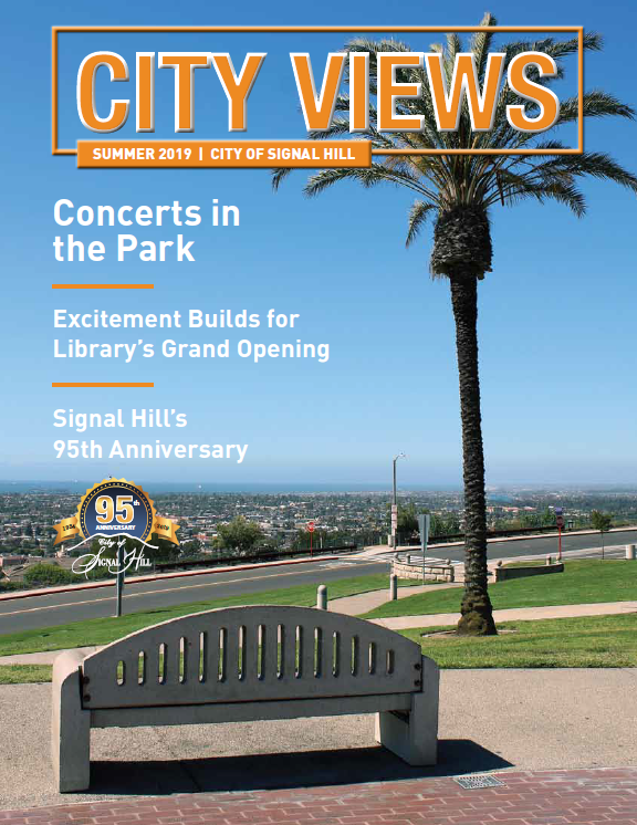 City Views Summer 2019 Hilltop Park with Bench and Palm Tree  Cover text reads Concerts in the Park