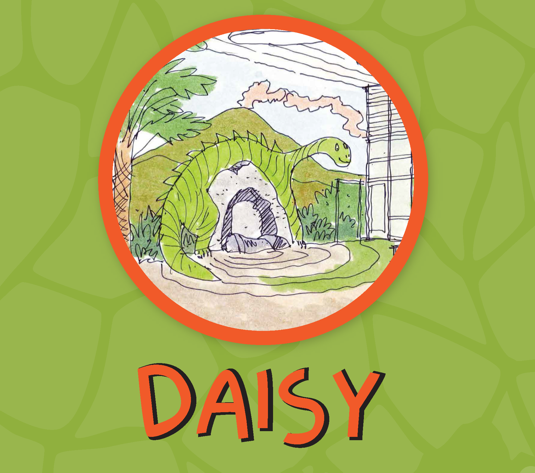Green Background with Drawing of Green Dinosaur with the name Daisy