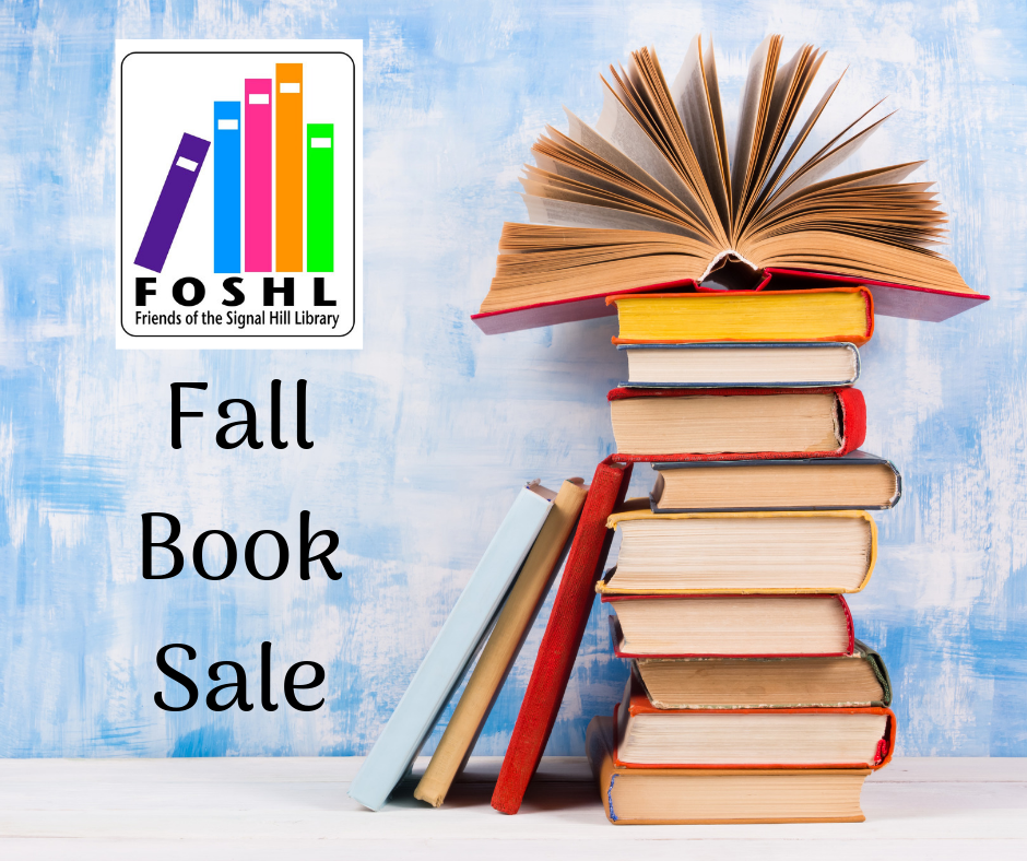 FOSHL Fall Book Sale stack of Books on right side