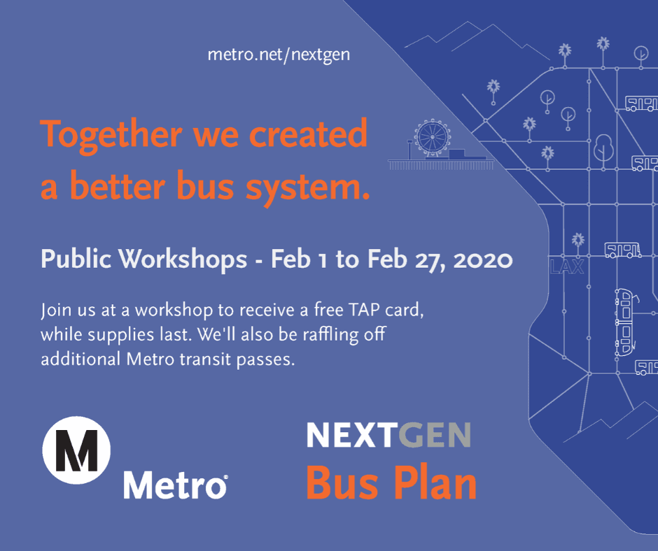 Metro Nextgen Bus Plan Workshops February 2-27 Blue background